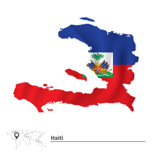 15770967 Map of Haiti with flag